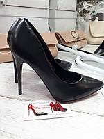 Туфли женские лодочки черные матовая кожа с красной подошвой