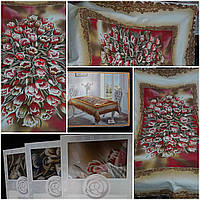 """Льняная скатерть на большой стол, яркая весенняя расцветка """"Тюльпаны"""", 150х220 см., 600/390"""