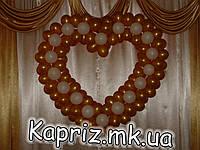 Бело-Золотое сердце из шаров , фото 1
