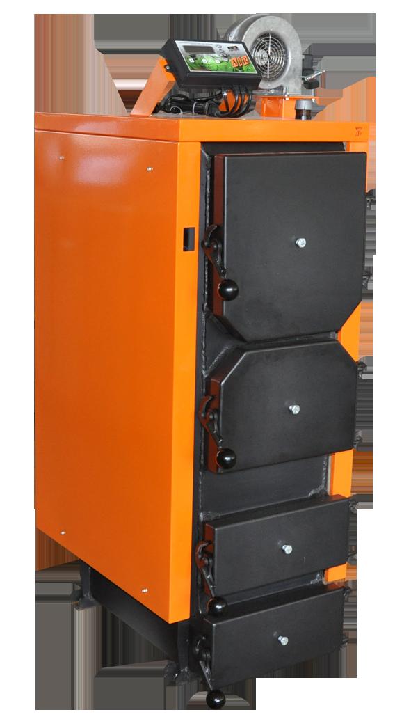Перспективы использования твердотопливных котлов Для отопления жилых и промышленных  зданий. Твердотопливные котлы производятся для отопительных систем, функционирующих на твердом виде топлива: уголь,дрова,щепа,брикет и т.д. По принципу деятельности котлы твердотопливного типа делятся на твердотопливные пиролизные (газогенераторные) APSS, классические котлы, работающие на твердом топливе, котлы с автоматической подачей топлива RODA,котлы на щепе, опилках, отходах сельского хозяйства, отходах мебельных производств, котлы длительного горения ДТМ. Твердотопливный котел на угле или древесине при сжигании топлива нагревает собственный теплоноситель — воду. Посредством использования генераторов, подогретый теплоноситель нагревает в помещении температуру.  Твердотопливный газогенераторный котел действует по принципу пиролизного сжигания: разложение топлива на кокс и летучую часть. Данный котел топится топливными брикетами или древесиной, что позволяет достичь максимальной эффективности. К преимуществам данной установки относится увеличенный промежуток между загрузками топлива, до 15 часов, и особая экологическая чистота. Такой котел выбрасывает в атмосферу значительно меньший объем углекислот, но является более дорогостоящими,котел APSS. Также твердотопливные котлы классифицируются по тому материалу, из которого изготавливается теплообменник (сталь и чугун).  Котлы с чугунными теплообменниками считают наиболее долговечными: RODA,Protherm . Они выделяется продолжительным нагревом и периодом остывания. Недостатком является то, что чугун подвержен «температурному шоку», возникающему в результате температурных перепадов. Это оказывает негативное влияние на целостность и деятельность котла. В наше время имеются и определенные твердотопливные котлы, которые выдерживают существенные температурные перепады.30-50 лет,максимальный срок эксплуатации чугунных котлов. Котлы с теплообменниками из стали, например Донтерм (ДТМ), более спокойно переносят температурные скачки, но подвергают
