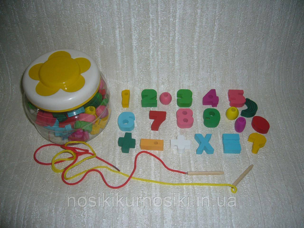 Деревянные игрушки Шнуровка в банке цифры, математика