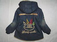 Джинсовая куртка парка на мальчика 3-6 лет