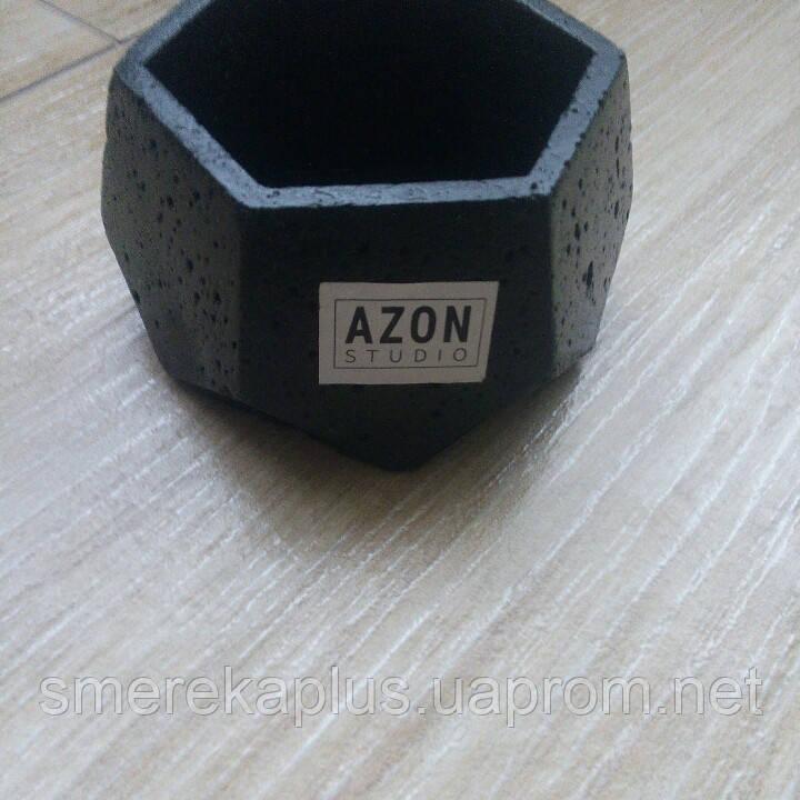 Кашпо из бетона AZON черный