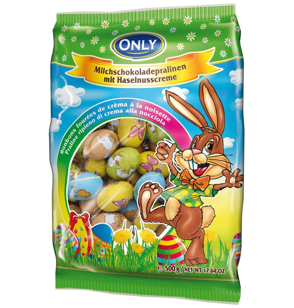 Шоколадные пасхальные яйца из молочного шоколада с ореховым пралине ONLY, 500 g. Австрия