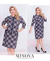Прямое платье в клетку с карманами с 50 по 56 размер, фото 1