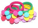 Детские резинки для волос с помпонами Ø4 см цветные 30 шт/уп., фото 5