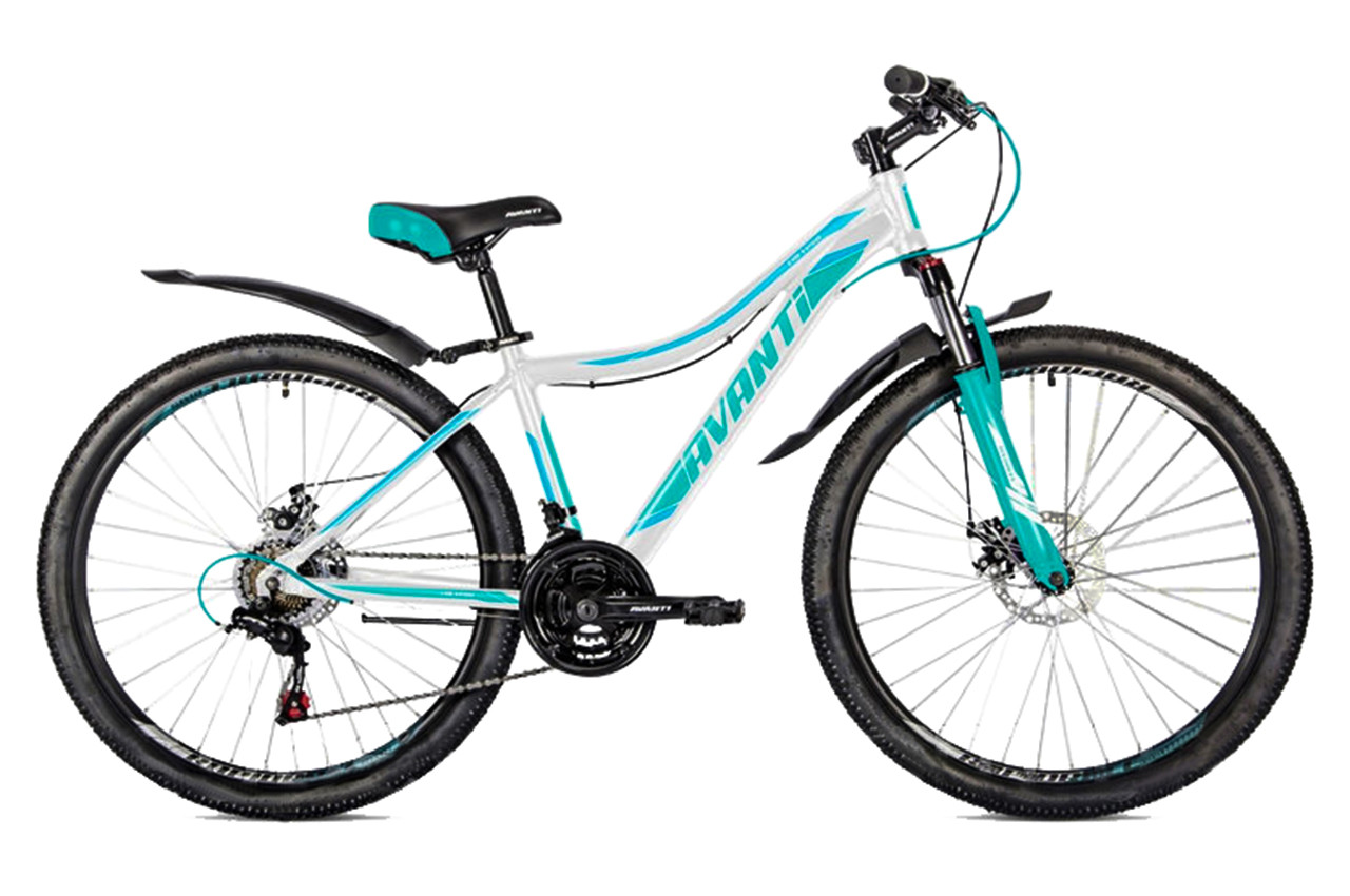 """Горный велосипед AVANTI """"CALYPSO"""" 26"""" алюминиевый с пружинно-эластомерной вилкой, Бело-бирюзовый"""
