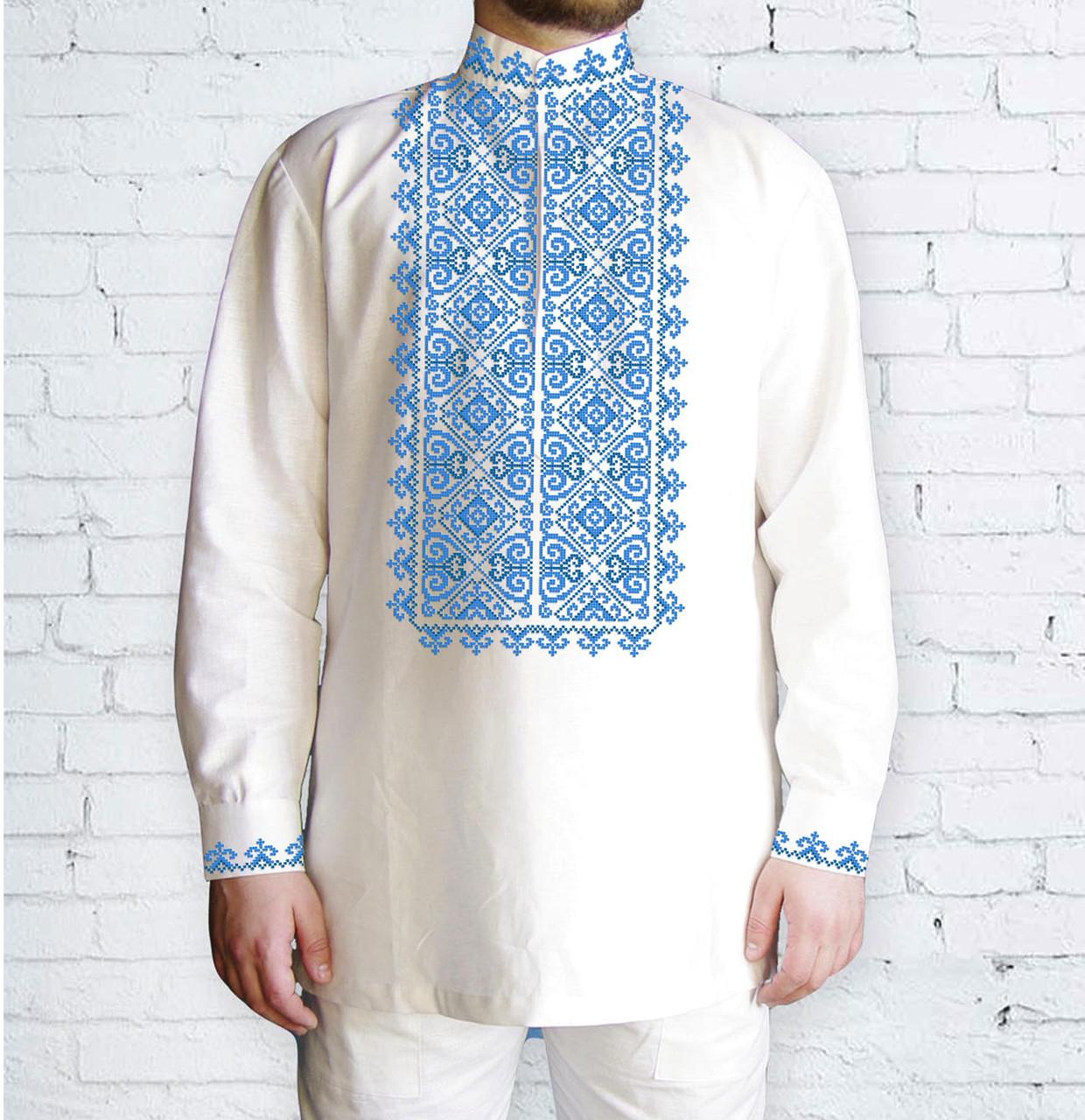 Заготовка чоловічої сорочки та вишиванки для вишивки чи вишивання бісером Бисерок «551 Голуба» (ЧЧ-551-Г)