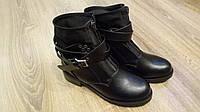 Женские демисезонные ботинки с хомутом черные, фото 1