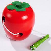 Деревянные игрушки шнуровка для малышей яблоко