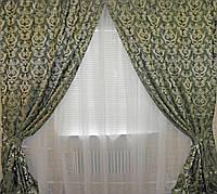 Комплект готовых штор (2шт. 1м.*2,85м.) , цвет зеленый 039ш