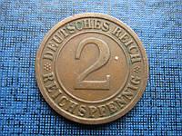 Монета 2 пфеннига Германия 1924 G