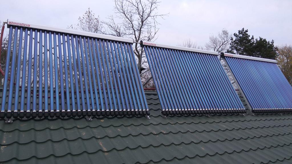 Монтаж солнечных коллекторов для нагрева бассейна объемом 16м3, а также как дополнительного источника энергии для догрева системы теплых полов в межсезонье