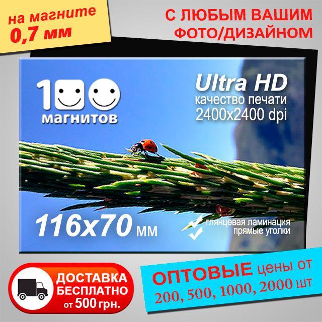 Рекламный магнит на холодильник. Размер 116х70 мм. Толщина 0,7 мм