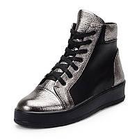 Ботинки женские чёрного с серебряным цветом  из натуральной кожи с шнуровкой по подъёму