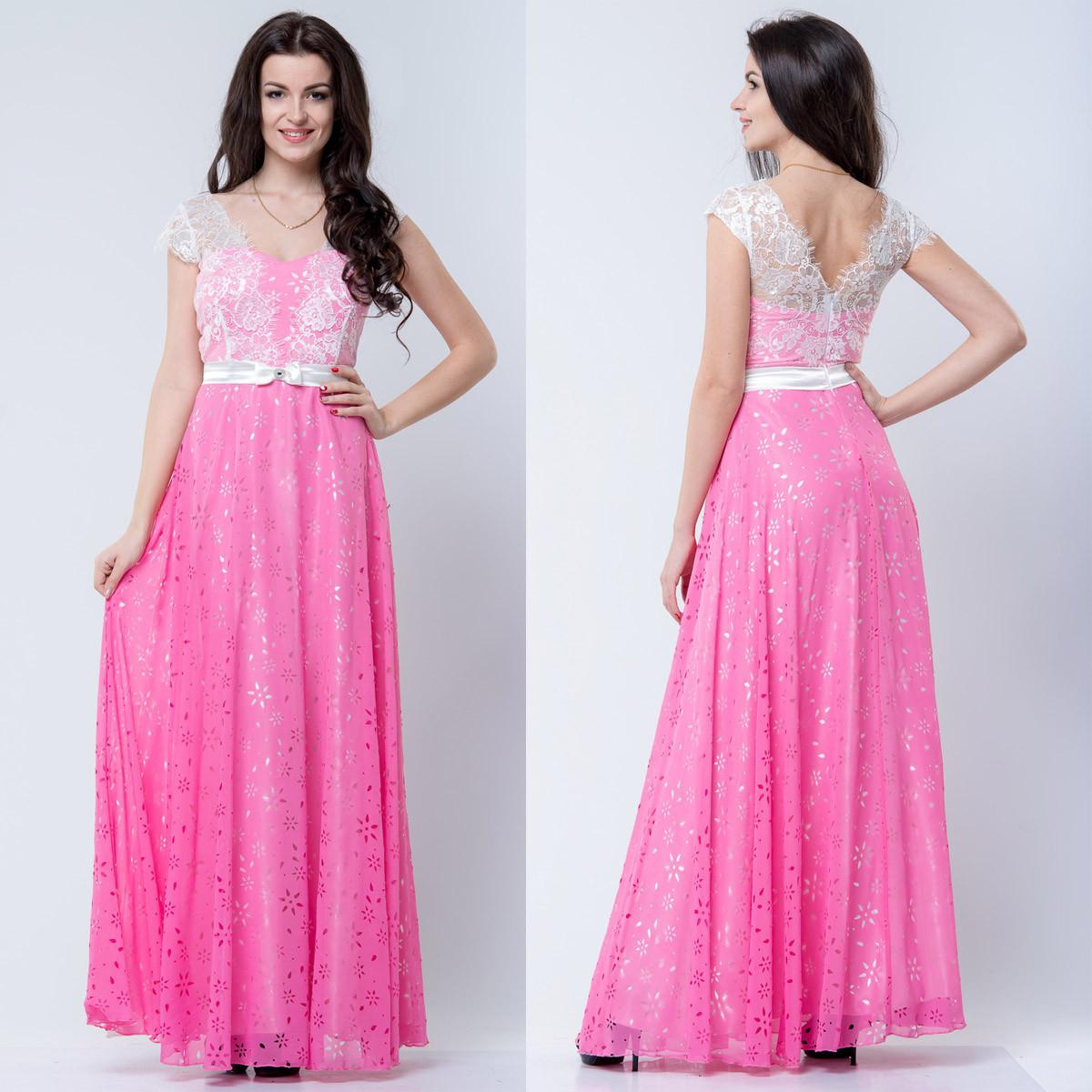 Длинное нарядное розовое платье на выпускной