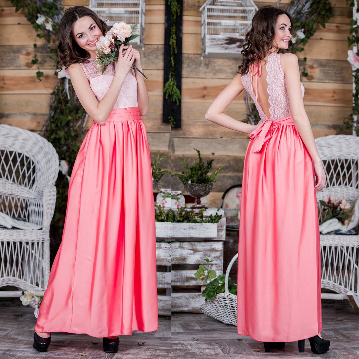 """Красивое вечернее, выпускное платье длинное коралловое """"Алика"""""""