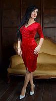 Великолепное красное платье благородного пошива из велюра  размеры 44,50,52.