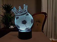 """3d светильник """"Футбольный мяч с короной"""" 3DTOYSLAMP, фото 1"""