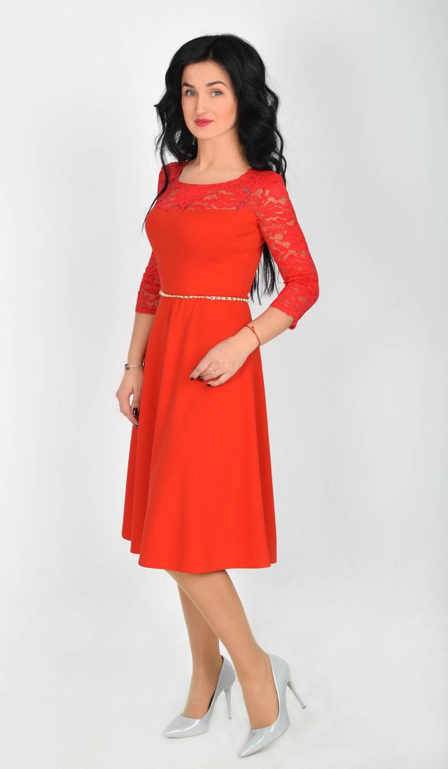 779e60cd22d Стильное красное платье миди с юбкой полусолнце - Интернет-магазин стильной  одежды