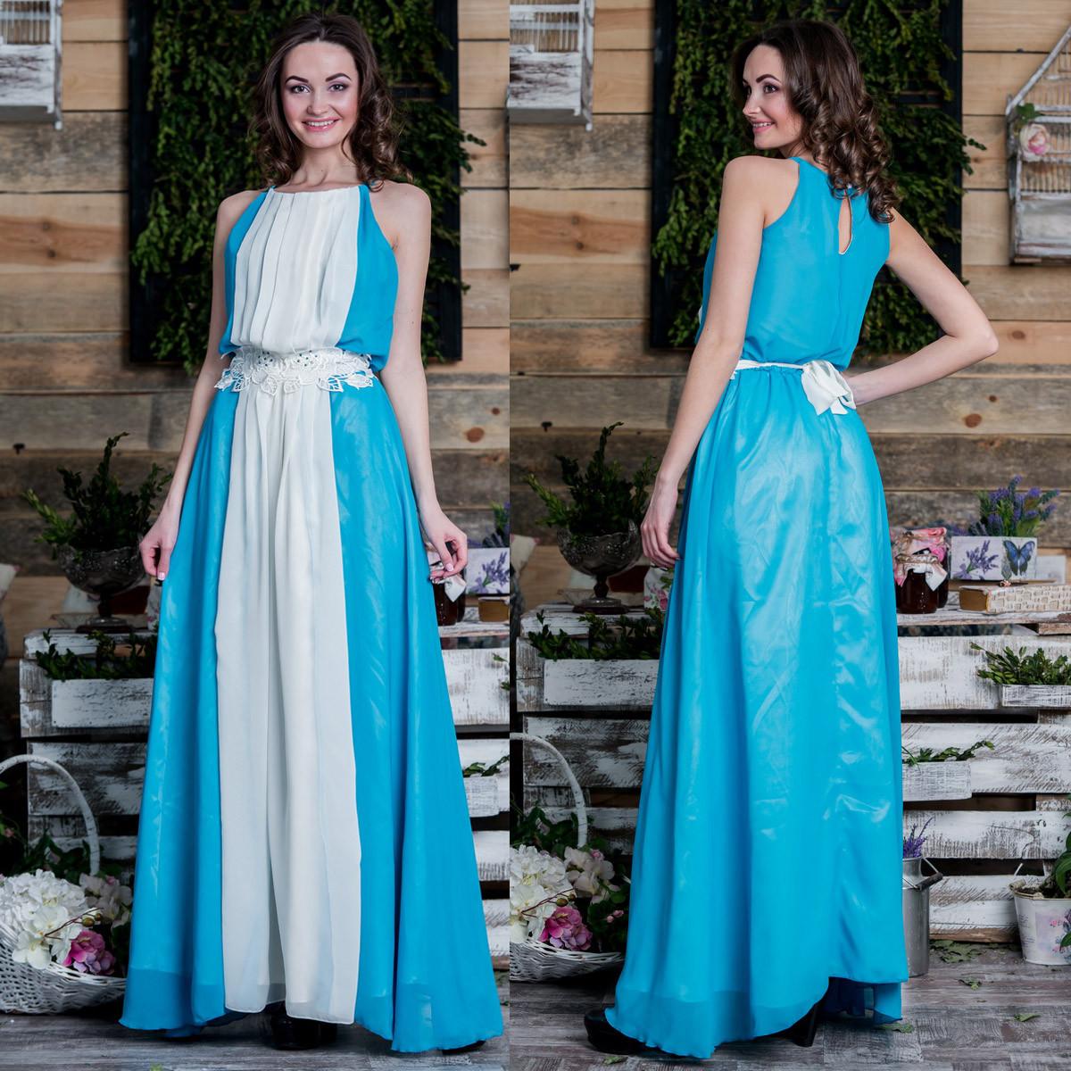 """Голубое вечернее, нарядное платье из шифона """"Амира"""""""
