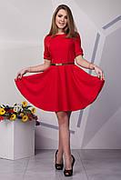 Красивое красное платье солнце клеш