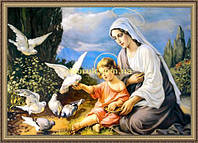 Образ Богородицы с малышом 200х240мм №115 в багетной рамке
