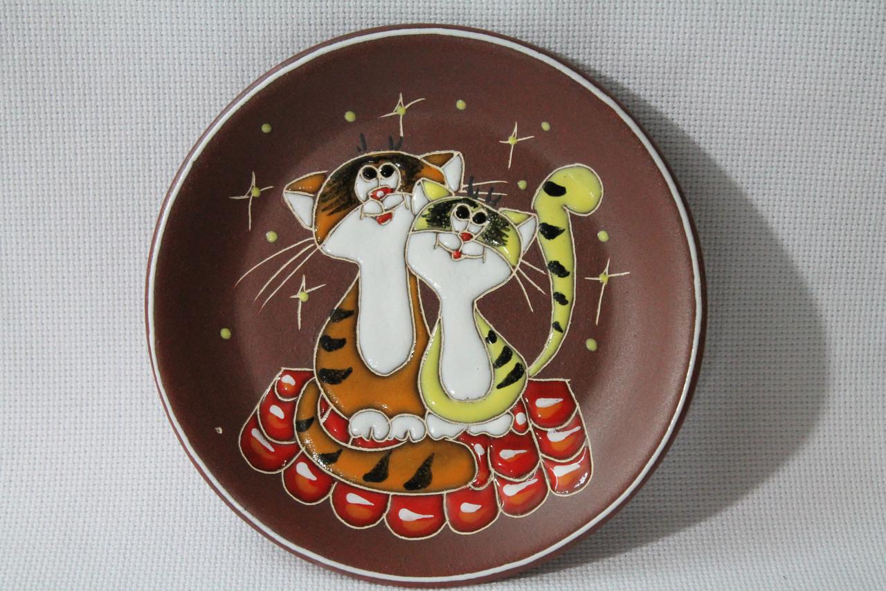 """Блюдце керамическое под чашку """"Коты на крыше"""""""