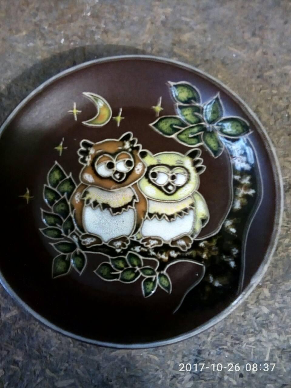 """Блюдце керамическое под чашку """"Две совы"""""""