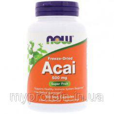 NOWДля веганов Сублимированные ягоды асаиAcai 500 mg freeze-dried100 veg caps