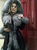 Кожаная куртка с мехом чернобурки, фото 1