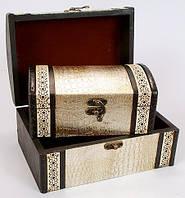 """Набор из двух деревянных шкатулок """"Сундучок Кожа Люкс"""", 22x15x11см и 18x11x8см"""
