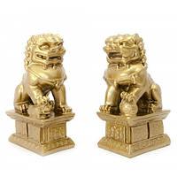 "Собаки Фу пара каменная крошка "";бронза""; (10,5х6х4 см) Код: 653602636"
