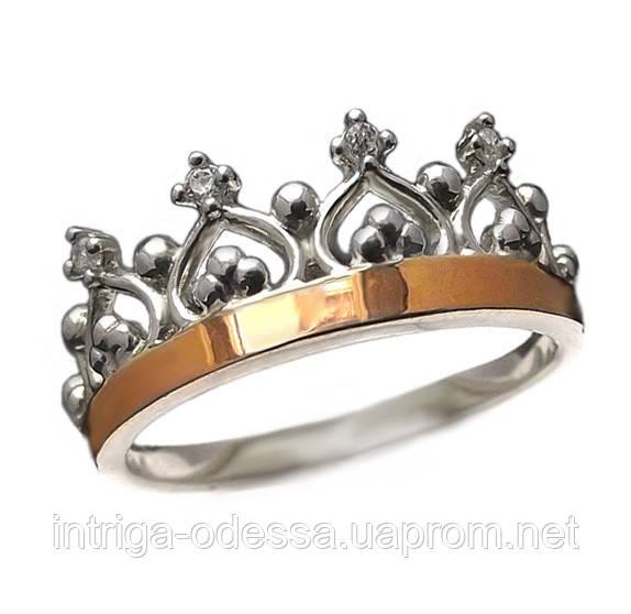 """Серебряное кольцо с золотыми накладками """"Корона Premium"""""""