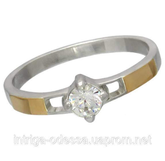 """Женское серебряное кольцо с золотыми пластинами """"Секрет"""""""