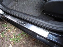 Накладки на пороги OmsaLine (4 шт, нерж.) - Dacia Logan II 2008-2013 гг.