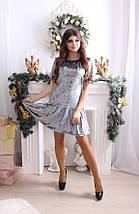 """Прямое бархатное мини-платье """"RUMER"""" с оборкой и коротким рукавом, фото 3"""