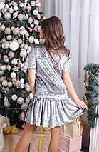 """Прямое бархатное мини-платье """"RUMER"""" с оборкой и коротким рукавом, фото 2"""