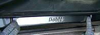 Fiat Doblo II 2005+ гг. Накладки на дверные пороги (Omsa, 2 шт, нерж.)