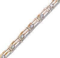 Серебряный браслет женский с золотыми пластинами арт. 30033