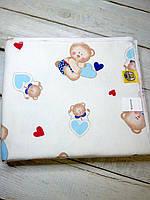 """Байковая пеленка для новорожденного """"Мишки с голубыми сердечками"""""""