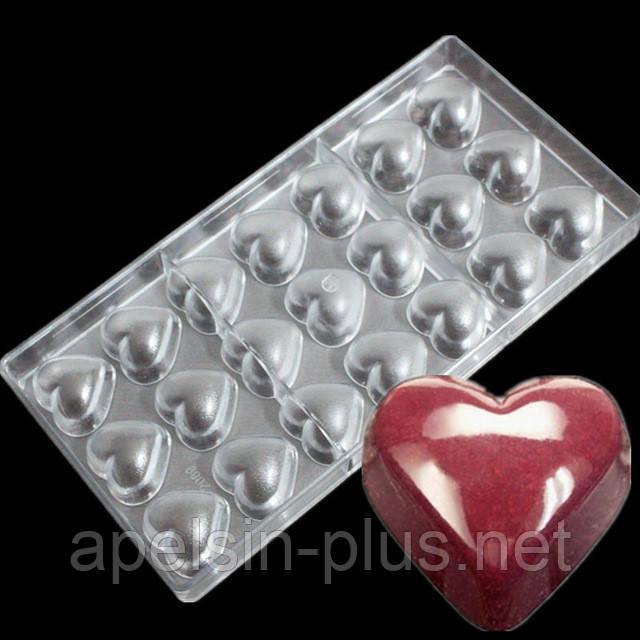 Поликарбонатная форма для шоколада Сердечки гладкие 21 ячейки