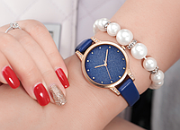 Модные женские наручные часы с синим ремешком код 365
