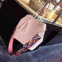 Набор - женская сумка и клатч в розовом цвете