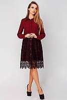 Красивое платье-рубашка с кружевом Нила бордовое