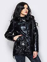 Модная женская демисезонная куртка черная 90280/2