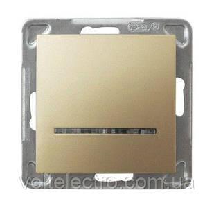Выключатель однополюсный с подсветкой OSPEL IMPRESJA  250V/16A золото