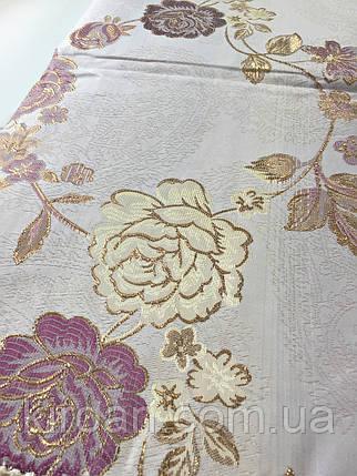 Скатерть с люрексом и кружевом 160х220 см (фиолетовые розы), фото 2