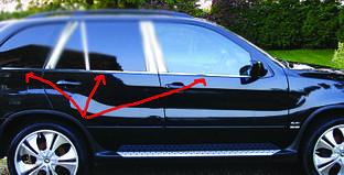 Нижние стальные молдинги (6 шт, нерж.) - BMW X5 E-53 1999-2006 гг.