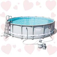Круглый каркасный бассейн Bestway 56452 488х122 см + полная комплектация с песочным фильтром